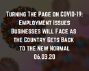Webinar: Turning The Page on COVID-19: Employment Issues Businesses Will Face as the Country Gets Back to the New Normal
